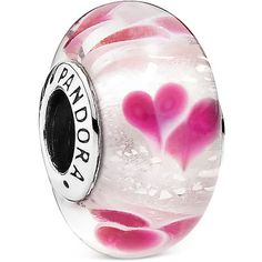 Pandora Charm - Sterling Silver & Murano Glass Wild Hearts Charm,... ($55) ❤ liked on Polyvore featuring jewelry, pendants, pink, pink jewelry, sterling silver jewellery, pandora charms, pandora jewellery and pandora jewelry