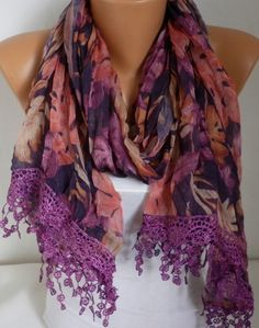 ON SALE - Purple Leaf Print  Scarf Shawl Summer Scarf Floral Scarf Tropical Scarf  Cowl with Lace Edge Multicolor Bridesmaid Gift
