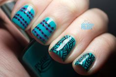 Hey, Darling Polish!: 33 Day Challenge - Day 18: Manicure With 2 Patterns