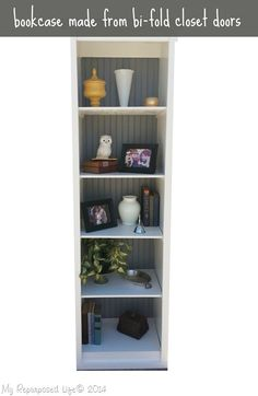 how to make a bookcase from a set of bi-folding doors from MyRepurposedLife