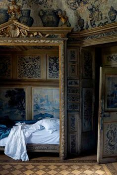 Normandy, house of the French author, Jules-Amedee Barbey d'Aurevilly. The photographs are by Vincent interior design design interior design design de casas Interior Exterior, Interior Architecture, Interior Design, Interior Doors, Alcove Bed, Bed Nook, Jugendstil Design, Antique Beds, Art Antique