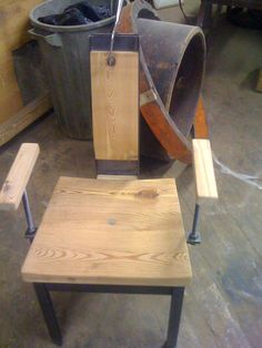 reclaimed wood and metal dining chair slightly curved seat for more comfort