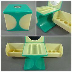 Vintage Vanity Organizer Retro 1960s Mod Lucite Cube Turquoise Green Moonbeam Yellow Lipstick Cosmetic Holder Retro Bathroom