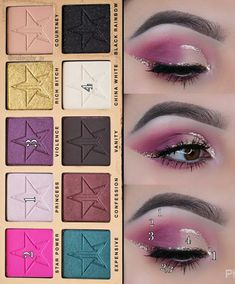 Discover recipes, home ideas, style inspiration and other ideas to try. Bright Eye Makeup, Colorful Eye Makeup, Dramatic Makeup, Jeffree Star Eyeshadow, Eyeshadow Makeup, Makeup Inspo, Makeup Inspiration, Beauty Killer Palette, Makeup Face Charts