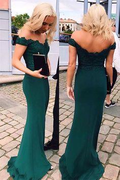 Emerald Green Evening Dress,Mermaid Off the Shoulder Lace Green Prom Dresses,Lace Off The Shoulder Formal Dress - Thumbnail 1