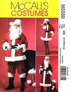 """McCall's+Sewing+Pattern+5550+Men's+Misses+Chest+Size+46-56""""+Santa+Costumes+Bag+Two+Lengths+Coat"""