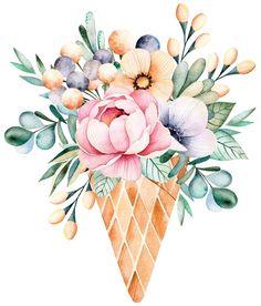 Watercolor Drawing, Watercolor Illustration, Watercolor Flowers, Art Floral, Floral Illustrations, Fabric Painting, Cute Drawings, Printable Wall Art, Flower Art