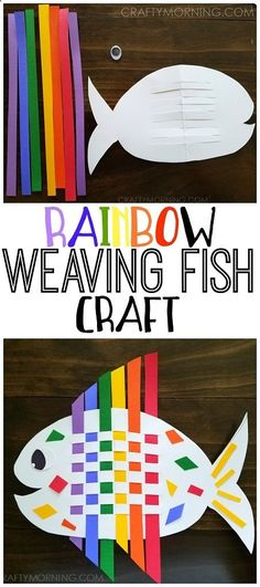 Make a weaving rainbow fish craft with the kids! So cute for an ocean theme #DIY #Crafts