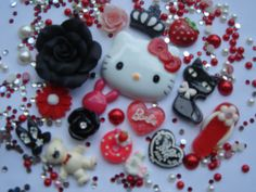 Black Red Hello Kitty Deco Den DIY Kit- i maybe decoden my my laptop with these :D