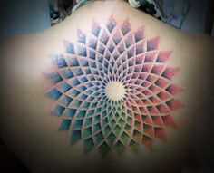 Fabulous collection of all type of mandala tattoo like: Mandala back tattoo, shoulder tattoo, mandala sleeve designs. Check ideas about mandala tattoos. Dot Tattoos, Neue Tattoos, Dot Work Tattoo, Body Art Tattoos, Mandala Tattoo Lotus, Colorful Mandala Tattoo, Coloured Mandala, Sun Mandala, Tattoo Designs And Meanings