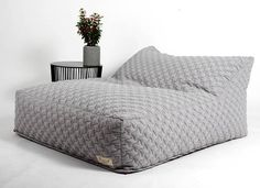 Large  beanbag chair, quilt fabric bean bags cover, LARGE floor cushion, living room floor cushion, beanbag for play room yellow, dark gray
