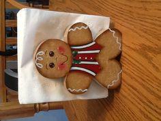 Wooden Gingerbread Man Napkin Holder