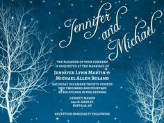 Winter Wedding Invitation with Trees in White and Blue – created and sold by GooseCornerGreetings on Etsy