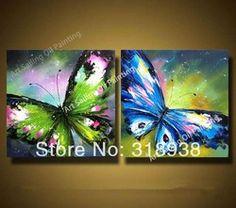 Online Shop Alta calidad / envío gratuito / pintado a mano 2 unids grupo de colores mariposas pintura al óleo sobre lienzo de arte la decoración del hogar AF890|Aliexpress Mobile