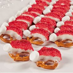 Santa pretzels.  These are so cute and too easy!