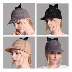 Bow Equestrian cap with mesh for women wool flat caps autumn wear