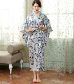 ae9a0aae3a Satin Silk Robes Women Kimono Bathrobes Long Dressing Gown Flora Silk  Pajamas Bath Robe Kimono Robes