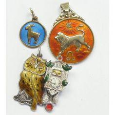 Vintage enamel animal charms