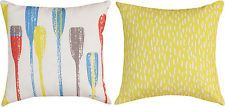"""THROW PILLOWS - COLORFUL OARS REVERSIBLE PILLOW - 18"""" SQUARE - INDOOR OUTDOOR"""