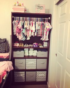 # diy baby closet Turned an old bookcase into this♥ Baby Bedroom, Baby Boy Rooms, Baby Room Decor, Baby Storage, Storage For Baby Clothes, Diy Nursery Storage Ideas, Nursery Ideas, Baby Nursery Organization, Room Ideas