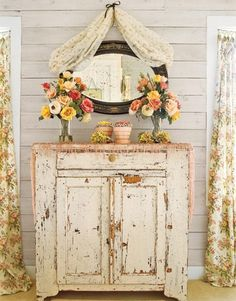 Distressed dresser. So bright and cool.