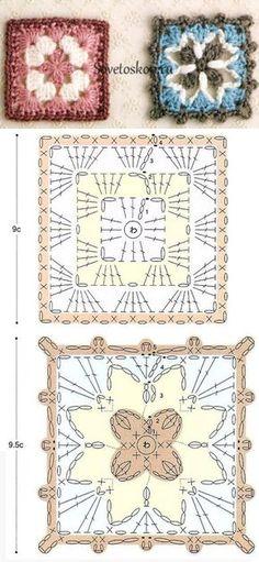 Crochet Granny Square Patterns The Ultimate Granny Square Diagrams Collection ⋆ Crochet Kingdom - The Ultimate Granny Square Diagrams Collection. Crochet Flower Squares, Flower Granny Square, Crochet Granny Square Afghan, Granny Square Crochet Pattern, Crochet Mandala, Crochet Diagram, Crochet Chart, Filet Crochet, Crochet Motif