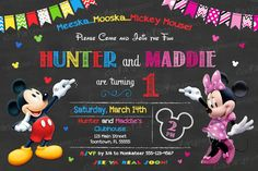 Mickey and Minnie Invitation PRINTABLE by KidsPartyPrintables