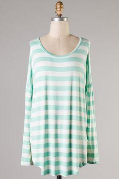 Leigh Striped Top - Mint #ShopMCE