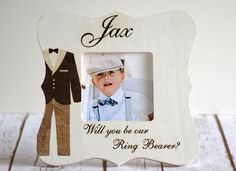 Ring bearer picture frame Wood Engraved by CustomWoodWonders