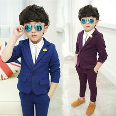 Blue Weddings Kids Suit For Costume Infant Boys Jacket Pants Baby Boy Suit, Baby Boy Dress, Baby Boy Outfits, Boys Dress Outfits, Toddler Suits, Kids Suits, Little Boy Fashion, Kids Fashion Boy, Trendy Fashion