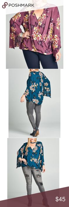 MAUVE FLORAL BLOUSE Floral print crinkled blouse with long bell sleeves and a crossover front. Finished with a choker collar. Perfect length for skinny jeans and leggings. Loving loose forgiving fit❣️ Love this blouse... 100% rayon. Only in Mauve. 1X 2X 3X Waunda's Closet Tops