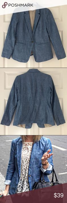 Ann Taylor LOFT Chambray Blazer Sz 2P Ann Taylor LOFT Chambray Blazer Sz 2P. New! Selling for less and $4 shipping on Ⓜ️ This jacket runs big I'm usually a small or a 4 in LOFT tops but this 2P size fit perfectly. LOFT Jackets & Coats Blazers