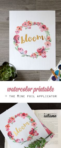 Get a free watercolor printable to pretty up your room, then make it even better with the Heidi Swapp Minc foil applicator. The easiest way to transfer foil. Partys, Free Prints, My New Room, Word Art, Printable Wall Art, Free Printables, Floral Printables, Hand Lettering, Origami