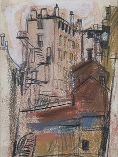 Joan Eardley - The Scottish Gallery, Edinburgh - Contemporary Art Since rough sketch - captures the basic form and structure of the building Urban Landscape, Landscape Art, Abstract Painters, Abstract Art, Picasso Paintings, Art Paintings, Building Art, A Level Art, Sculpture Art
