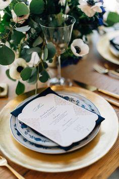Gold & Blue Wedding Place Setting