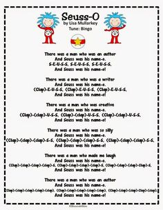 Seuss Song to the tune of BINGO. Perfect for the month of March! You are in the right place about dr seuss crafts paint Here we offer you the most beautiful pictures about the dr seuss crafts canv Dr. Seuss, Dr Seuss Week, Preschool Music, Preschool Lessons, Preschool Ideas, Preschool Transitions, Teaching Ideas, Preschool Classroom, Teaching Art