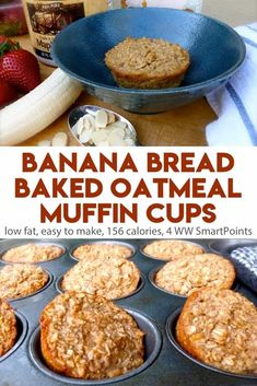 Healthy Snacks Easy, healthy, delicious single-serving banana bread baked oatmeal muffin cups - only 156 calories, 4 Weight Watchers Freestyle SmartPoints! Baked Oatmeal Muffins, Baked Oatmeal Recipes, Baked Banana, Banana Recipes, Weight Watchers Baked Oatmeal Recipe, Healthy Baked Oatmeal, Banana Oatmeal Muffins, Healthy Banana Muffins, Oatmeal Cake