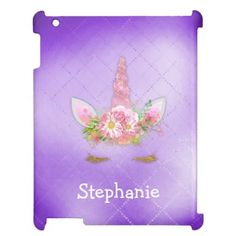 Shop Sparkling Pink Unicorn Face Purple Case For The iPad created by UnicornFantasy. Purple Unicorn, Unicorn Face, Pastel Pink, Pink Purple, Flower On Head, Ipad Pro 12, Floral Bouquets, Ipad Case, Pink Flowers
