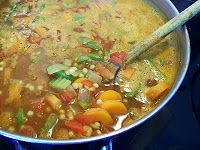 Moroccan vegetable soup. With ginger, curry powder orange zest etc...