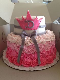 My first two tier cake. #babyshower #girl #pinkombre #pink