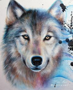 Wolf painting by Kate Mur Wolf Painting, Acrylic Painting Canvas, Pictures To Draw, Art Pictures, Wolf Dreamcatcher Tattoo, Indian Wolf, Wolf Sketch, Wolf Artwork, Wolf Wallpaper