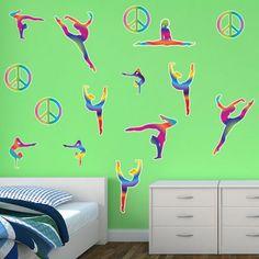 Kids Bedroom Restickable Wall Stickers - Gymnastics Wall Decor Restickables #KidsBedroomDecor #BedroomDesign #WallGraphics #kidsRoom #Customized #Bedroom #PaintSafe - $55