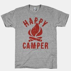 "This cute vintage-inspired camping shirt features a crackling camp fire and the words ""happy camper"" and is perfect for exploring the great outdoors, climbing trees, visiting national parks,... 