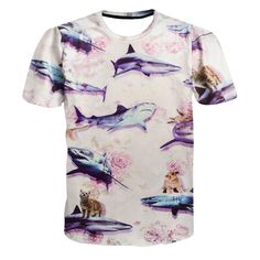 df34d52af0 US $11.68 |Harajuku Kitten and Shark 3d T shirt Floral Design Men Women  Fashion Summer T shirts Men Casual tshirts Outfits Drop Shipping-in T-Shirts  from ...