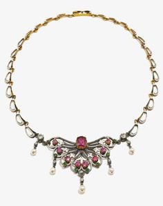 Carlo and Arthur Giuliano - An important Victorian silver, gold, enamel, diamond, ruby, demantoid garnet and pearl necklace, 1890-1900. With maker's mark C & AG. #Giuliano #Victorian #antique