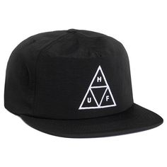 HUF Triple Triangle Black Snapback ($34) ❤ liked on Polyvore featuring accessories, hats, snap back caps, mesh cap, mesh snapback, huf cap and black snapback hats