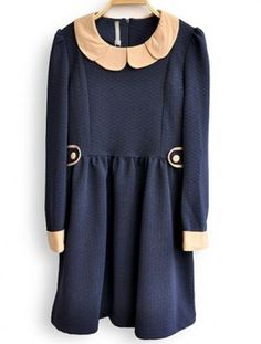 Navy Long Sleeve Buttons Embellished Pleated Dress - Sheinside.com Mobile Site