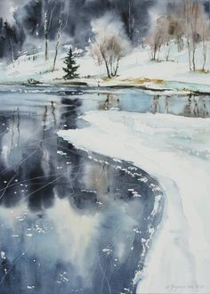 Maria Ginzburg- I can barely believe that this is a painting. Art Aquarelle, Art Watercolor, Watercolor Landscape, Landscape Art, Landscape Paintings, Simple Watercolor, Winter Scenery, Winter Art, Winter Blue
