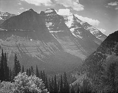 "Ansel Adams Photo: ""Valley, snow covered mountains in background, Glacier National Park, Montana. ""  One of my favorite places."