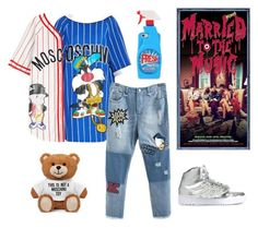 """SHINee Jonghyun Outfit Inspiration"" by cutiepiejuvy ❤ liked on Polyvore featuring Moschino and adidas Originals"